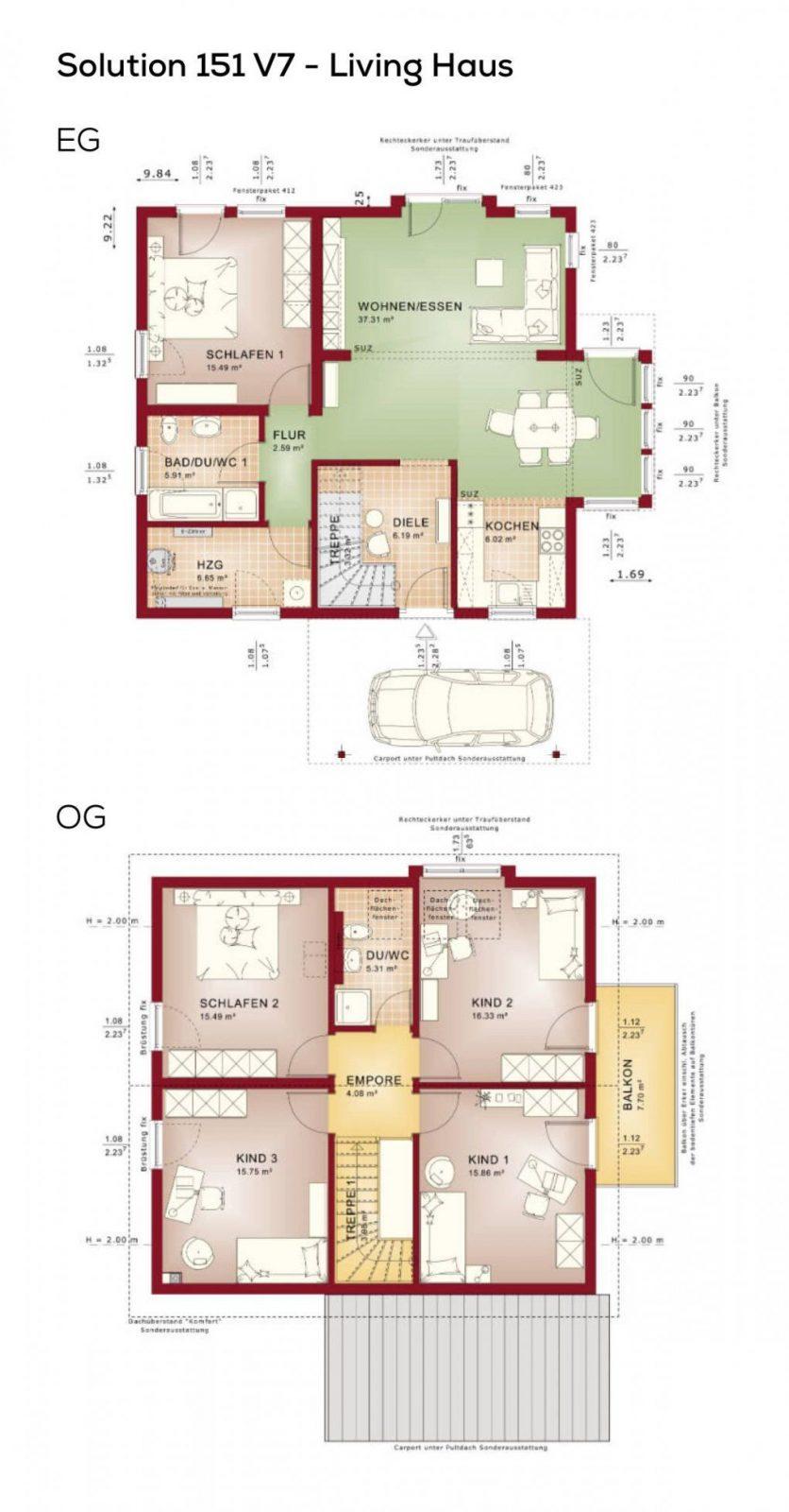 Grundriss Einfamilienhaus Mit Satteldach  6 Zimmer 150 Qm von Grundriss Einfamilienhaus 150 Qm Bild
