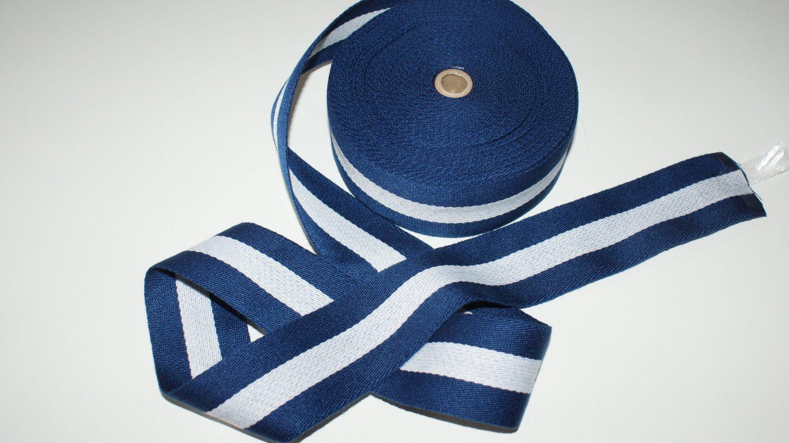 Gurtband  Streifengurtband  Baumwolle  4Cm  Blauweiß  Ein von Fc Bayern Stoff Zum Nähen Bild