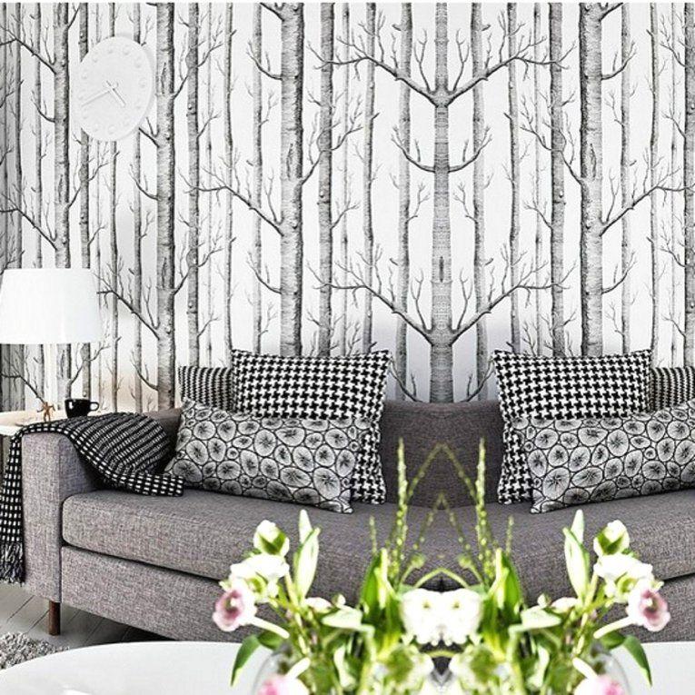 Herausragende Ideen Birke Tapete Schwarz Weiß Und Charmante Muster von Tapete Birke Schwarz Weiß Bild