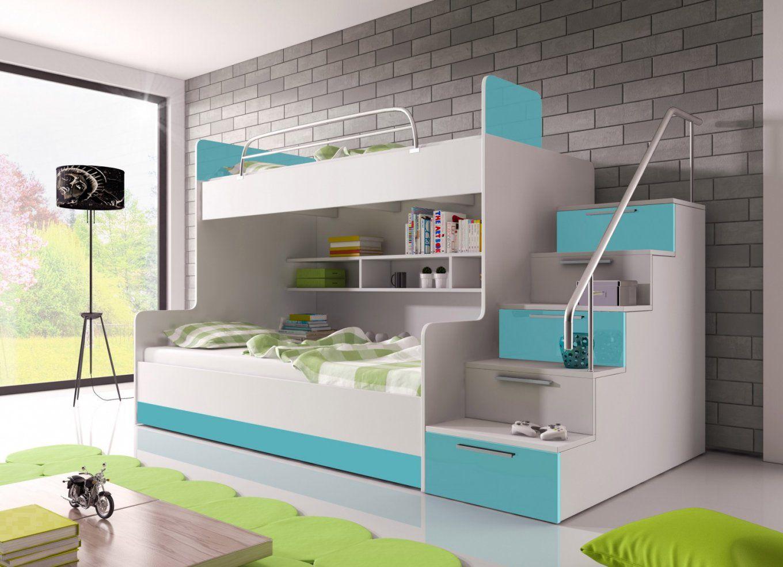 Hochglanz Etagenbett Doppelbett Alex  Möbel Für Dich Online Shop von Hochbett Mit Stufen Treppe Photo