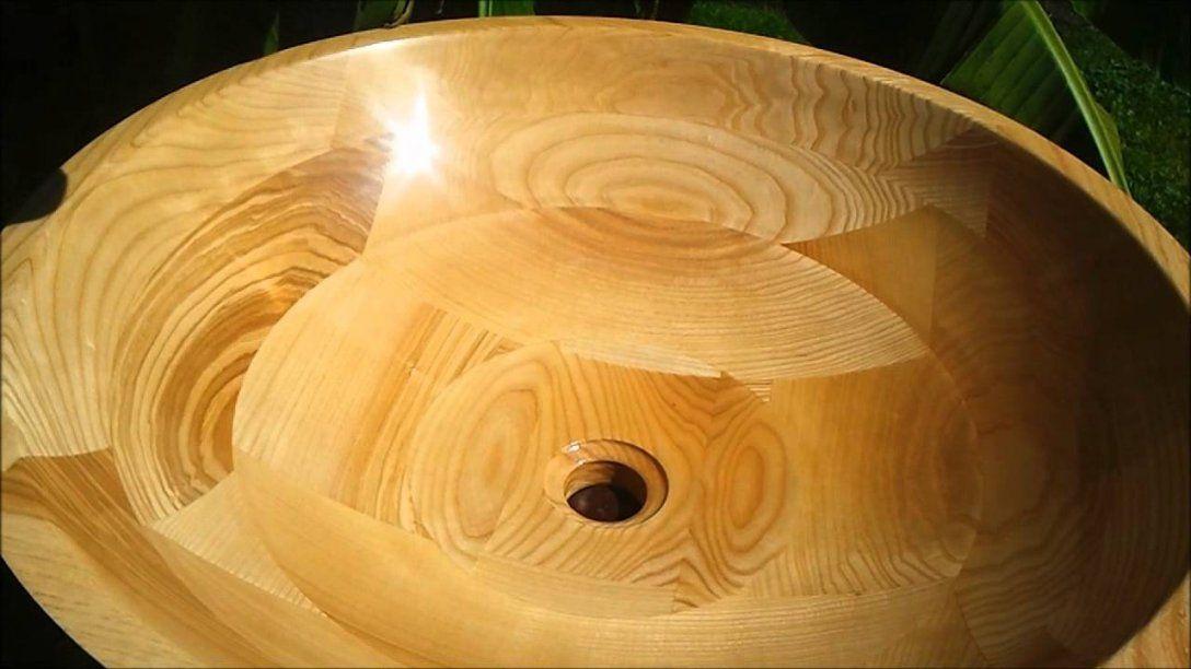 Holzwaschbecken Grinera 100% Holz Massiv  Youtube von Waschbecken Aus Holz Selber Bauen Photo