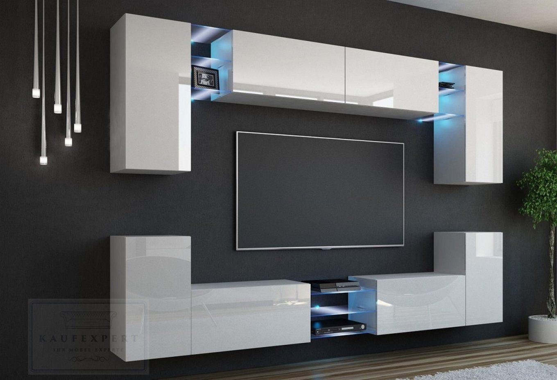 Kaufexpert  Wohnwand Galaxy Weiß Hochglanz Mediawand Medienwand von Designer Wohnwand Weiß Hochglanz Photo