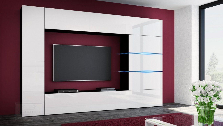 Kaufexpert  Wohnwand Shadow Weiß Hochglanzschwarz 285 Cm Mediawand von Designer Wohnwand Weiß Hochglanz Bild