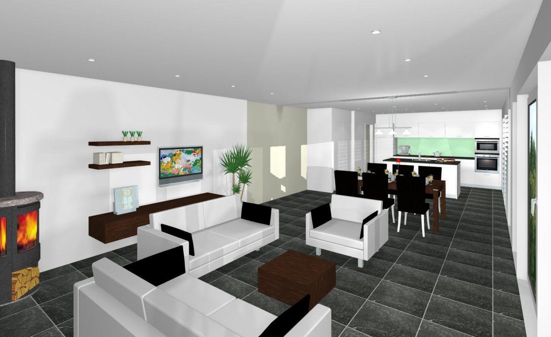 Kche Und Wohnzimmer In Einem Raum Modern  Autozeiger von Wohnzimmer Mit Offener Küche Einrichten Bild
