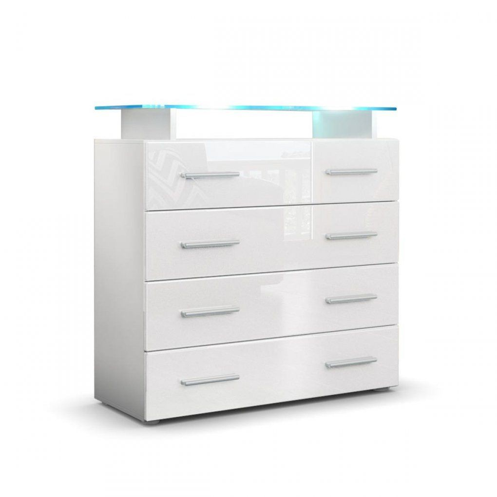 Kommode Pavos V2 Mit Praktischen Schubladen & Glasablage von Kommode Weiß Hochglanz Schubladen Bild