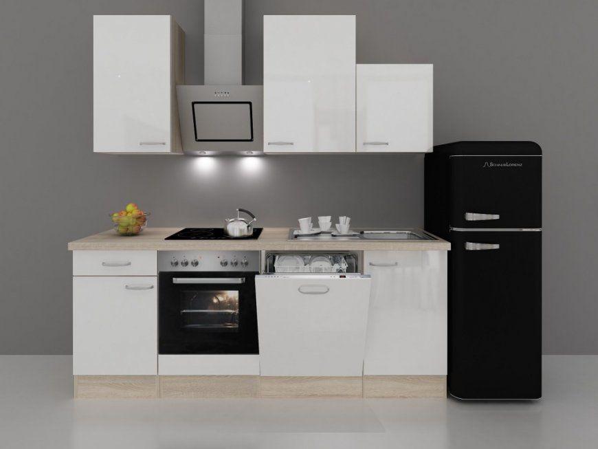 Küchenzeile 220 Cm Hochglanz Weiß Inkl Retro Kühlschrank Und von Küchenzeile Mit Geschirrspüler Ohne Kühlschrank Bild
