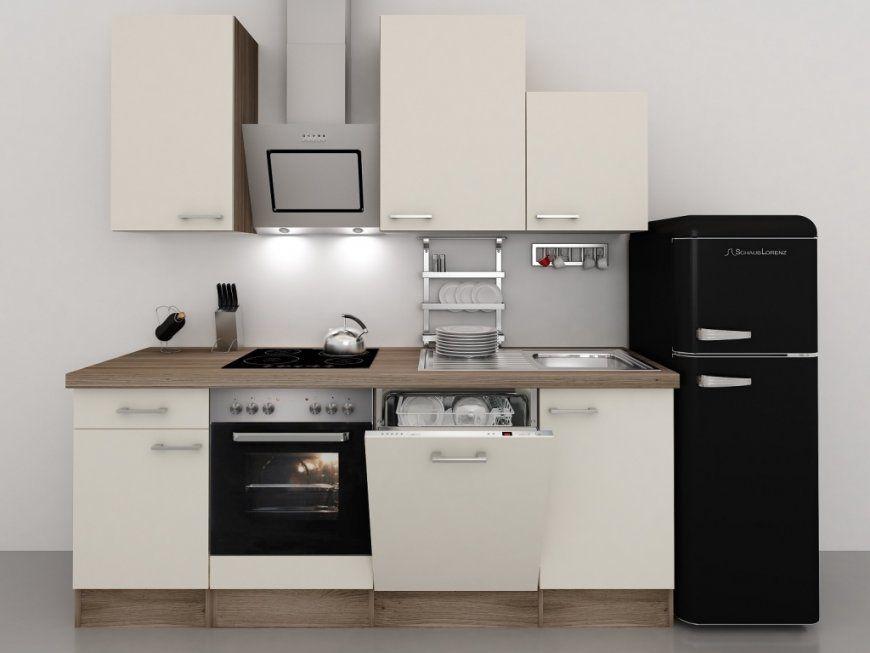 Küchenzeile 220 Cm Magnolie Mit Retrokühlschrank Und Kopffreihaube von Küche Mit E Geräten Ohne Kühlschrank Bild