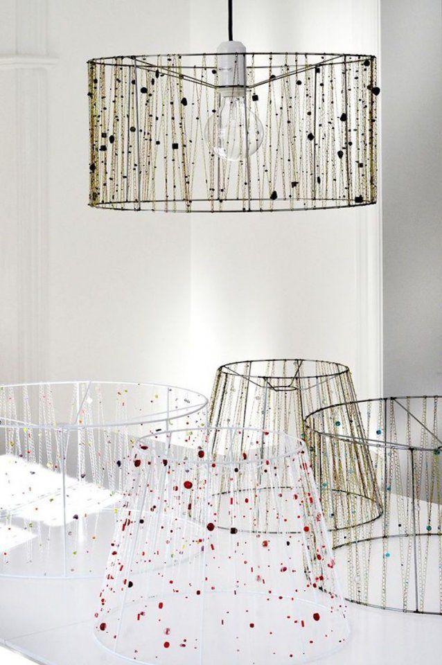 Lampenschirm Für Stehlampe Selber Machen  Mit Ketten Und Perlen von Lampenschirm Gestell Selber Machen Bild