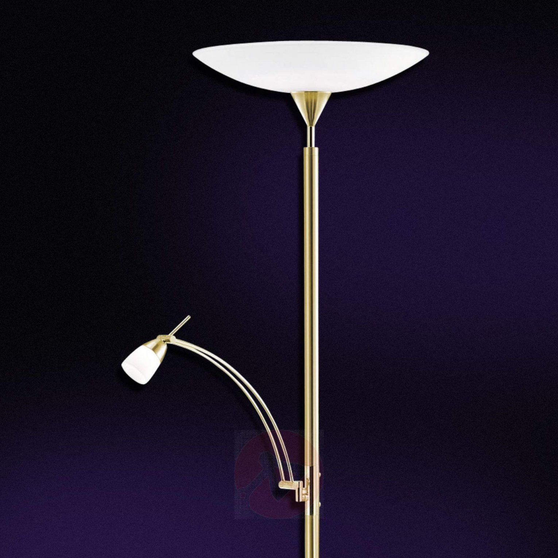Leddeckenfluter Pearl Mit Leseleuchte Messing  Lampenweltat von Led Deckenfluter Dimmbar Mit Leseleuchte Messing Photo