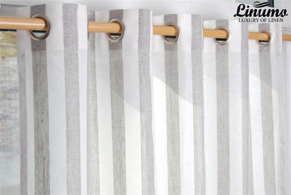 Leinen Gardine Weissnatur Gestreift 145X235Cm M05C33215 von Gardinen Grau Weiß Gestreift Photo