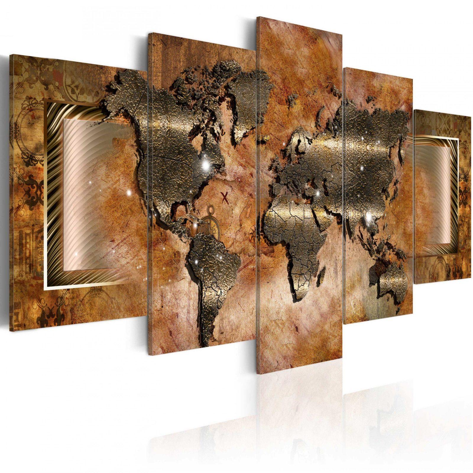 Leinwand Bilder Xxl  Kunstdruck  Bild  Weltkarte Abstrakt Braun von Leinwandbilder Xxl 5 Teilig Photo