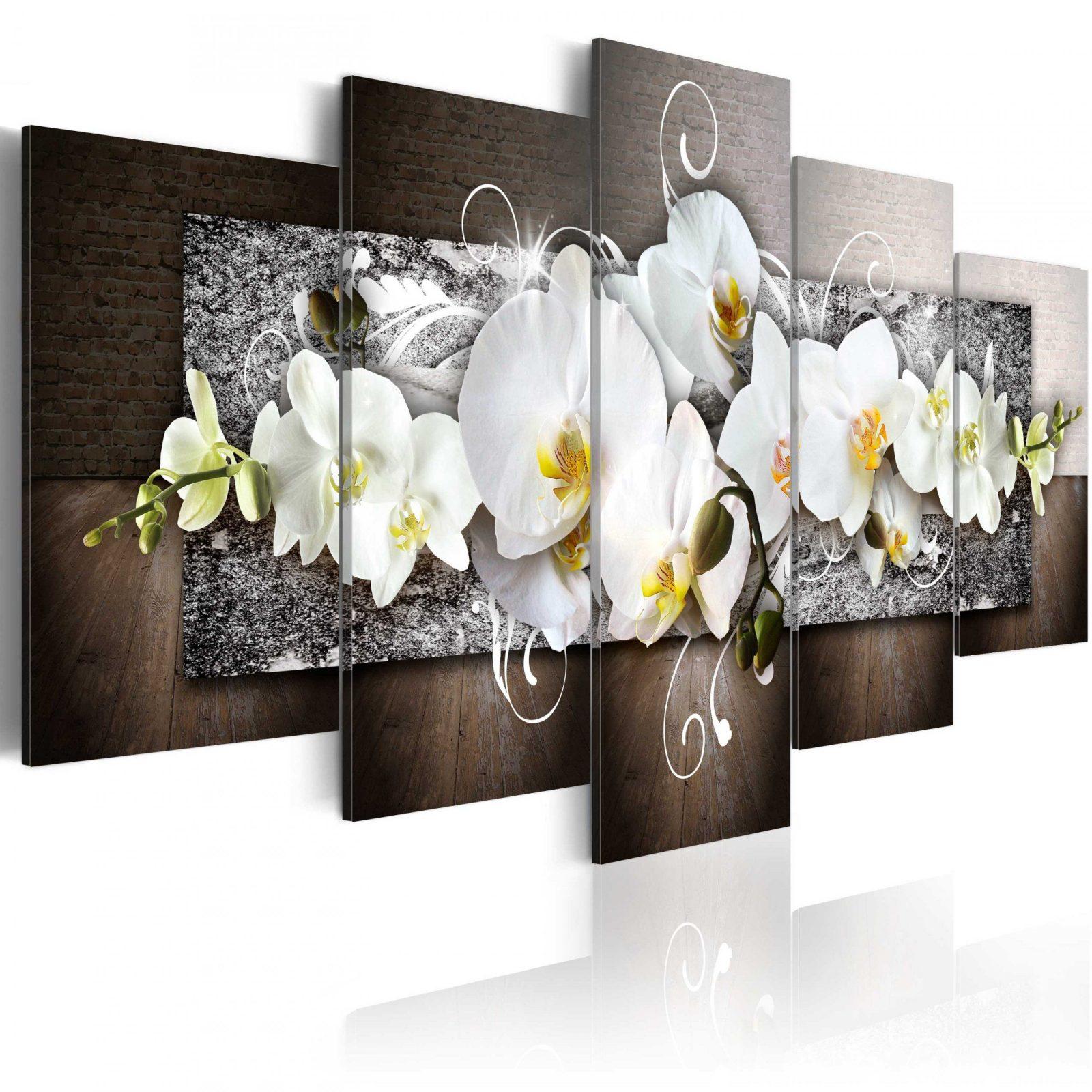Leinwand Bilder Xxl Kunstdruck Wandbild Blumen Orchidee Abstrakt von Leinwandbilder Xxl 5 Teilig Photo
