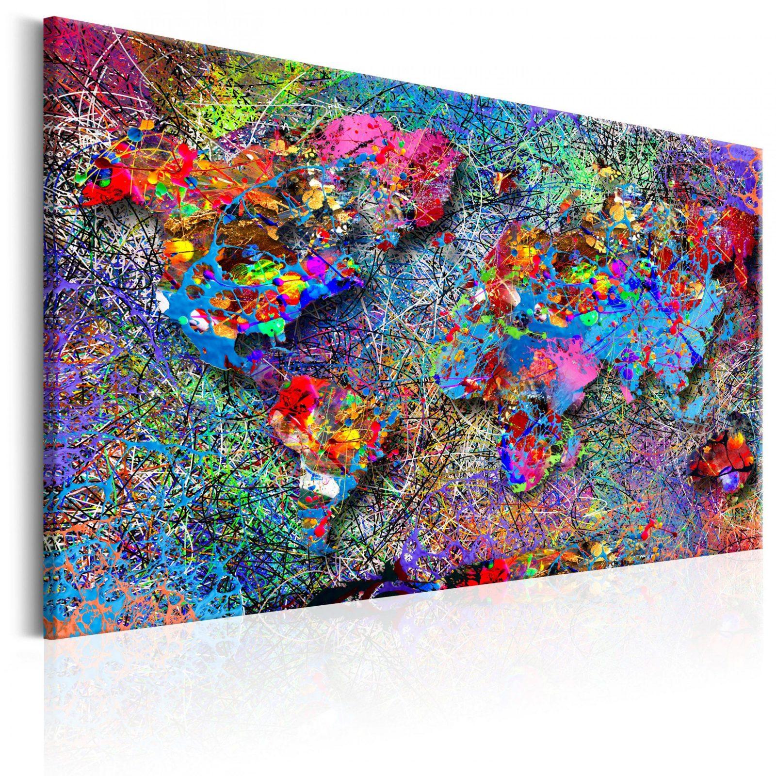 Leinwand Bilder Xxl Kunstdruck Wandbild Weltkarte Abstrakt Pollock von Bilder Auf Leinwand Abstrakt Bild