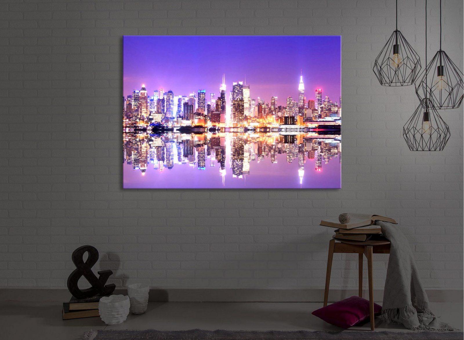Leuchtbild Led Bild  Manhattan Skyline Spiegelung  Fully Lighted von Led Leinwandbild Selber Machen Photo