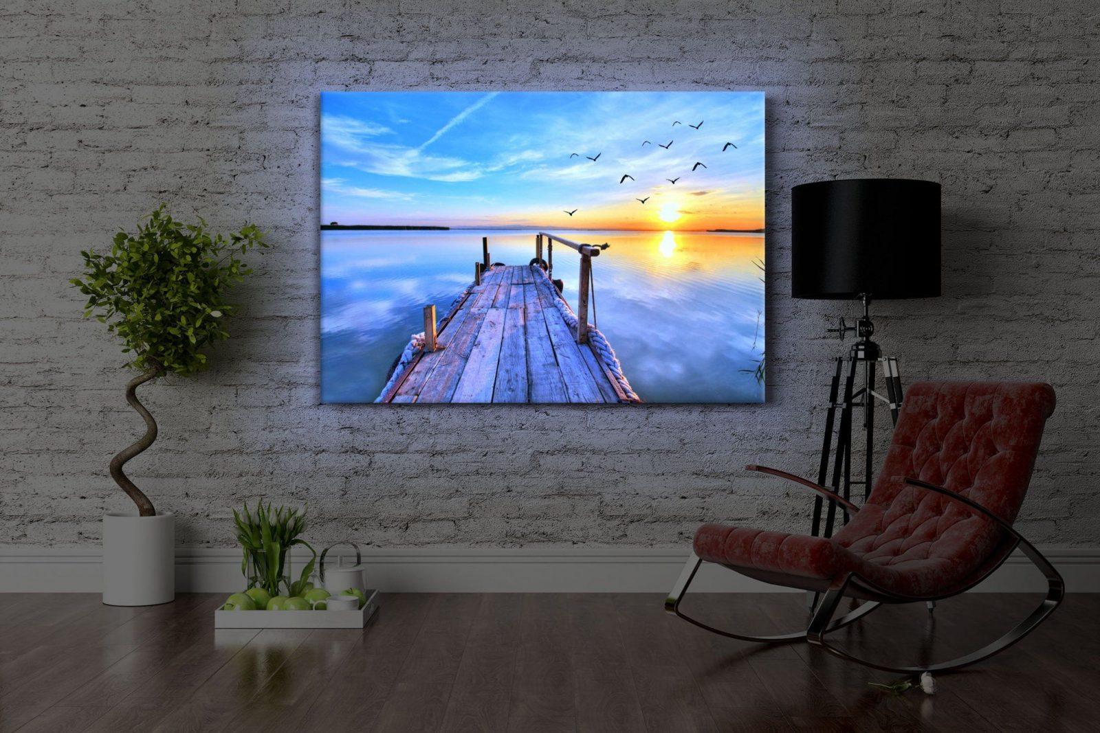 Leuchtbild Led Bild  Steg Mit Möwen Bei Sonnenuntergang  Front von Led Leinwandbild Selber Machen Photo