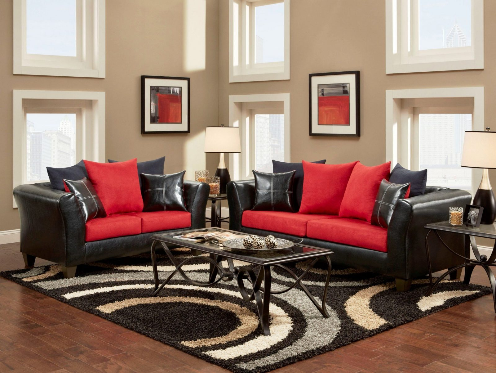 Livingroom  Excellent Red Black And White Living Room Ideas Theme von Red And Black Furniture Photo