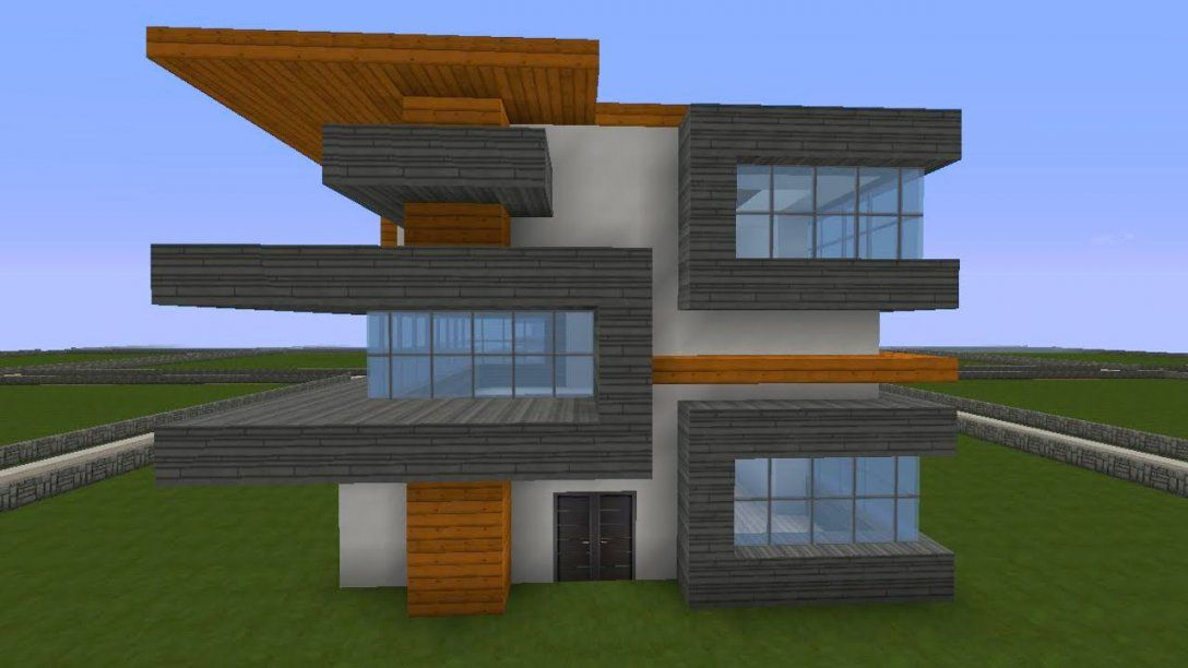 Minecraft Modernes Haus Freitag  Hochhaus Braunweiß Bauen von Minecraft Häuser Zum Nachbauen Anleitung Photo