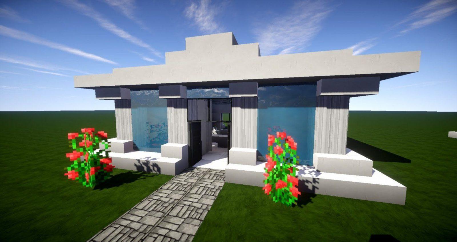 Minecraft Modernes Haus Mit Wasserdach Bauen 12X12  Tutorial von Minecraft Häuser Bauen Mit Anleitung Photo