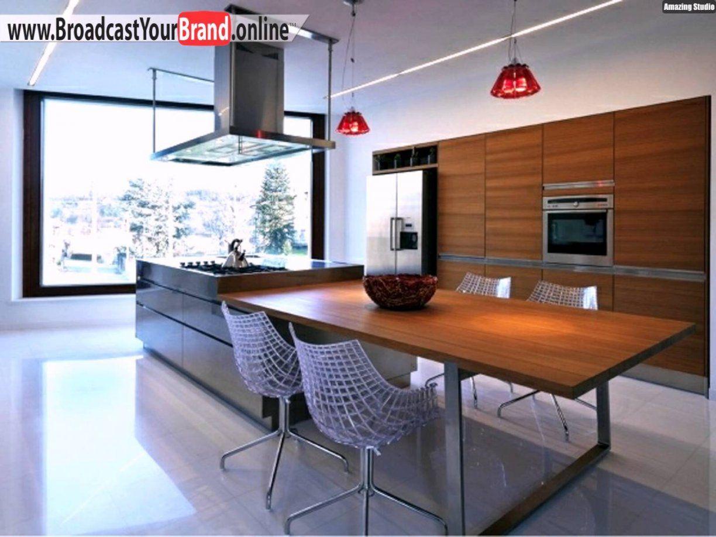 Moderne Küche Weiß von Kochinsel Mit Integriertem Esstisch Bild
