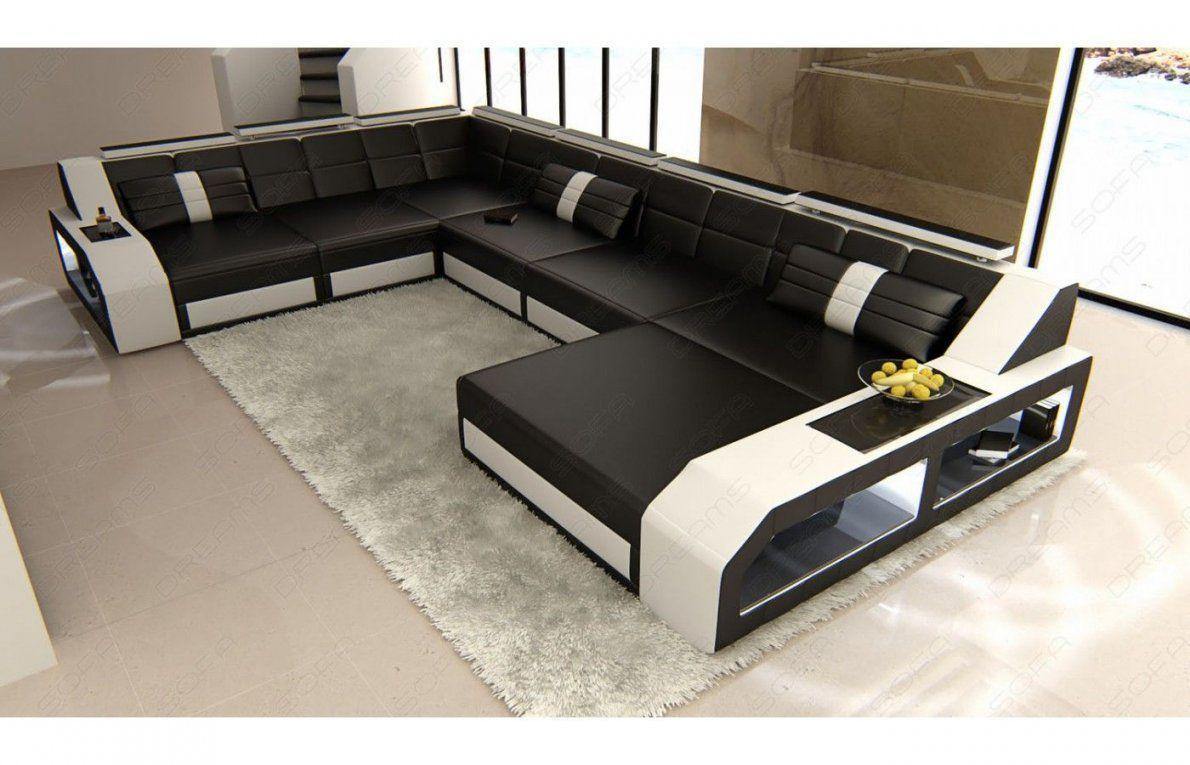Moderne Sofa Wohnlandschaft Matera In Leder Als Xxl Version Mit Ottomane  Von Xxl Wohnlandschaft Leder Ottomane Bild
