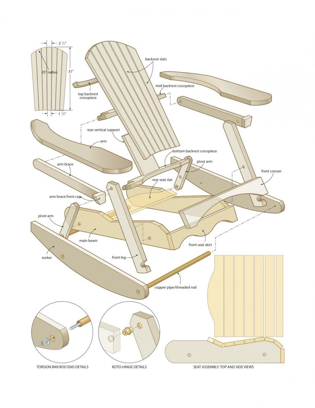 Muskoka Rocking Chair Woodworking Plans  Woodshop Plans von Adirondack Chair Selber Bauen Photo