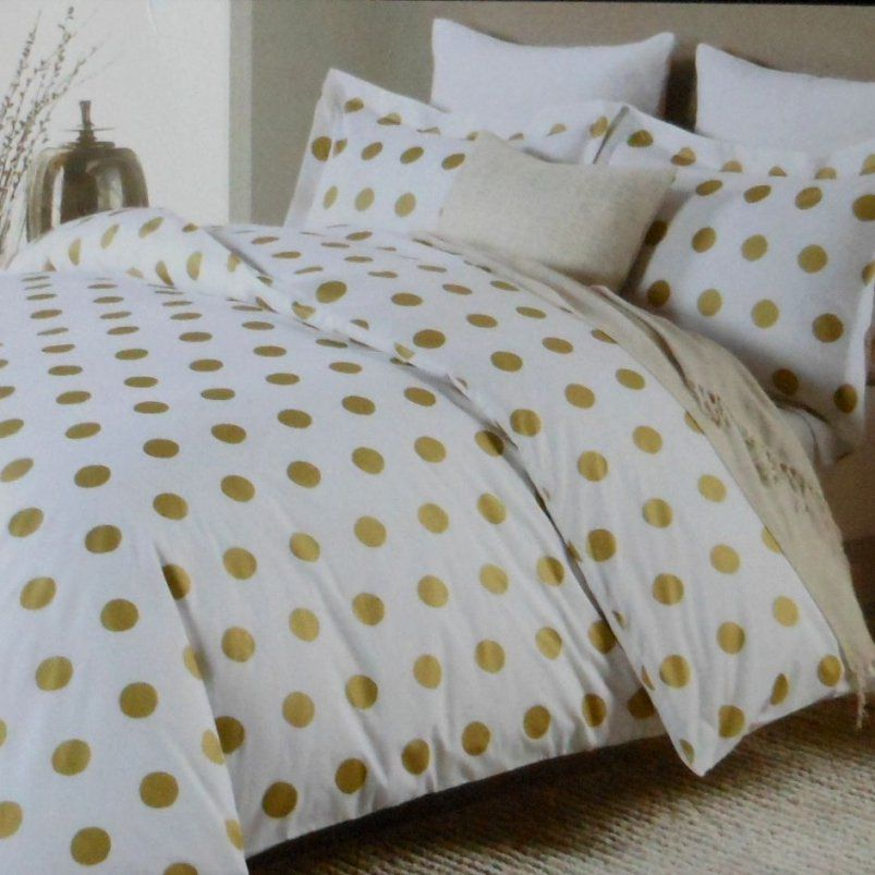 Nicole Miller Large Polka Dot 3Pc Queen Duvet Set Gold On White von Polka Dotted Bed Sheets Photo