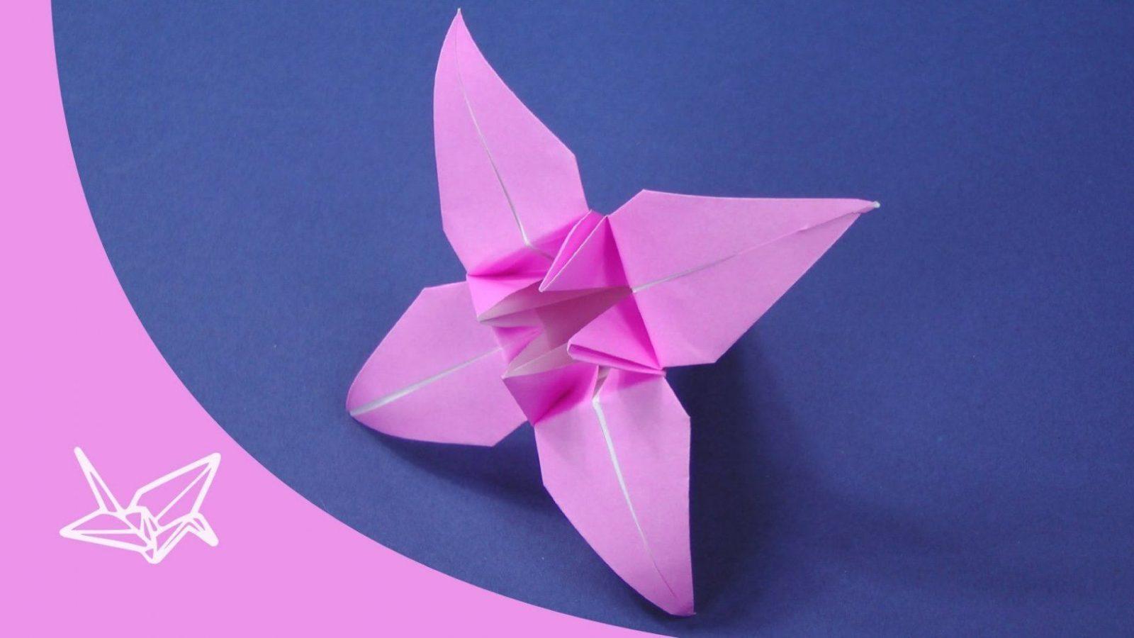Origami Blume  Faltanleitung  Youtube von Einfache Blumen Falten Anleitung Bild