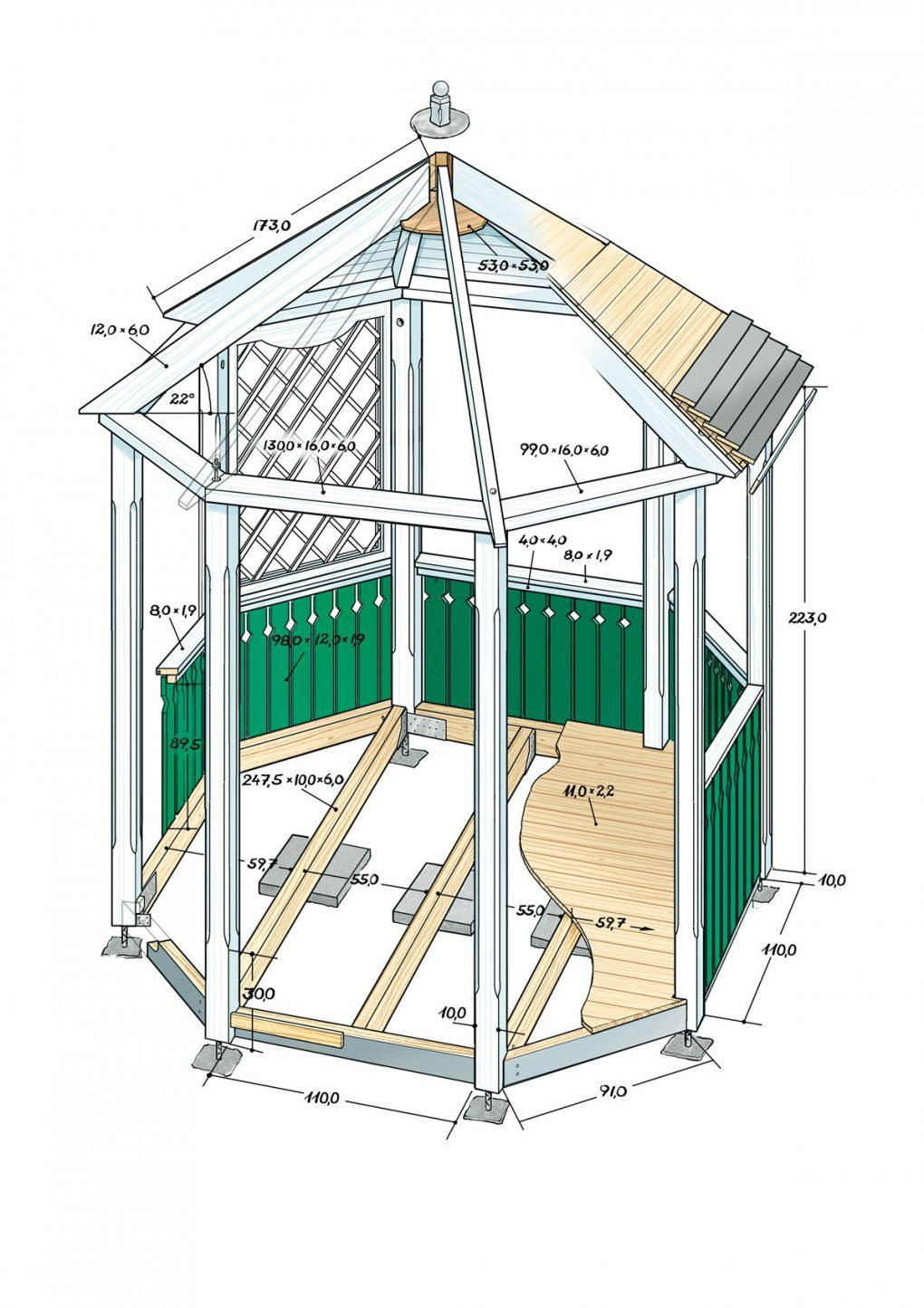 Pavillon Selber Bauen Anleitung von Gartenpavillon Selber Bauen Anleitung Bild