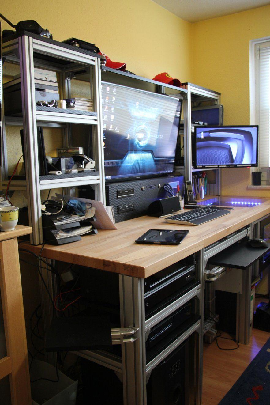 Pc Tisch Selber Bauen Überraschend Auf Kreative Deko Ideen Mit von Schreibtisch Regal Selber Bauen Bild