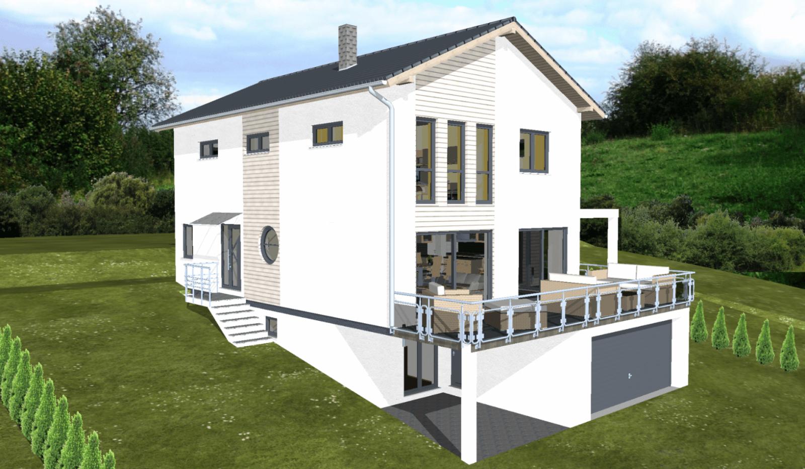 Planungsbeisiel Einfamilienhaus Garage Im Keller Hanglage Balkon von Garage Im Keller Hanglage Photo