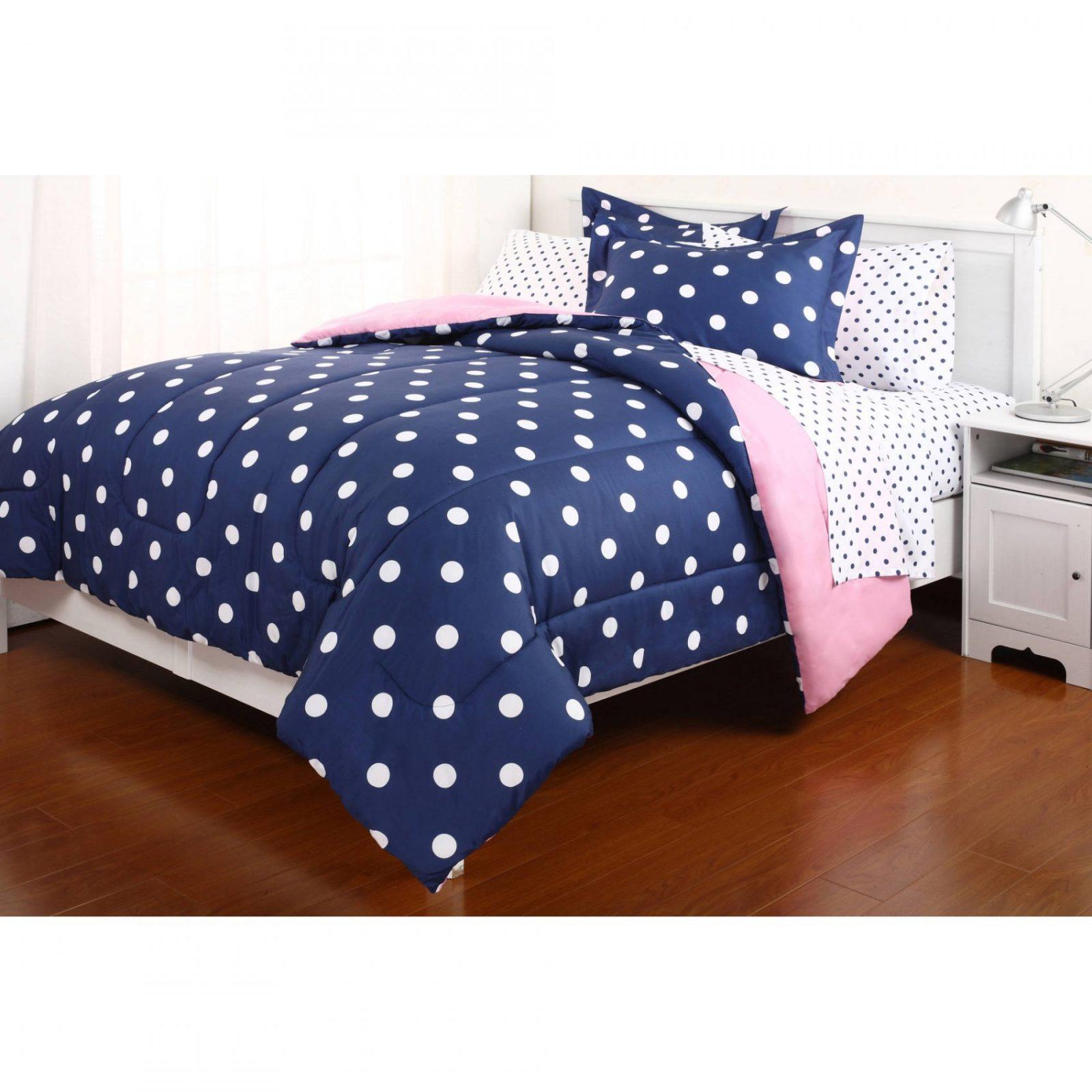 Polka Dot Reversible Bed In A Bag Bedding Set  Walmart von Polka Dotted Bed Sheets Bild
