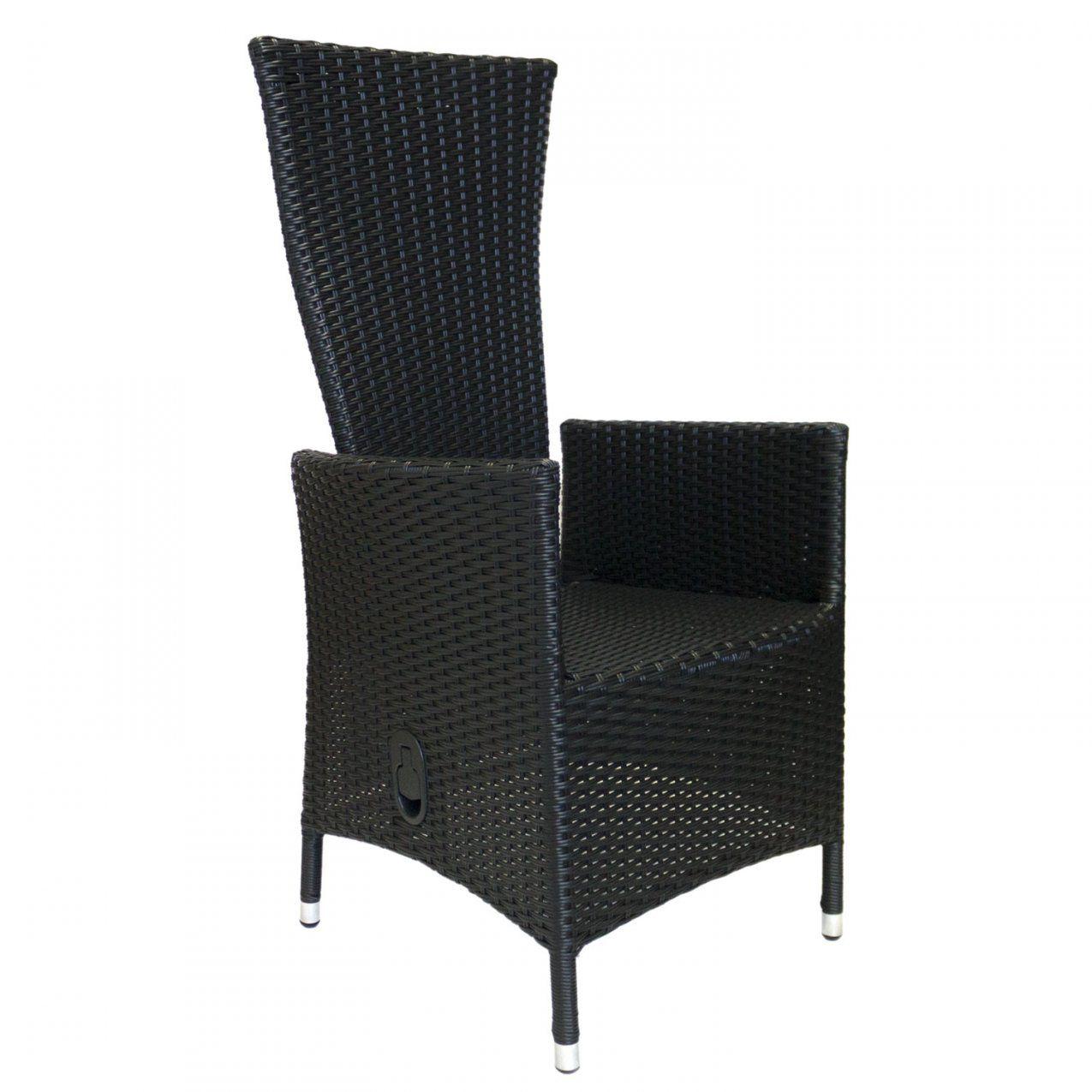 Polyrattan Sessel Lea Schwarz Stufenlos Verstellbare Rückenlehne von Polyrattan Sessel