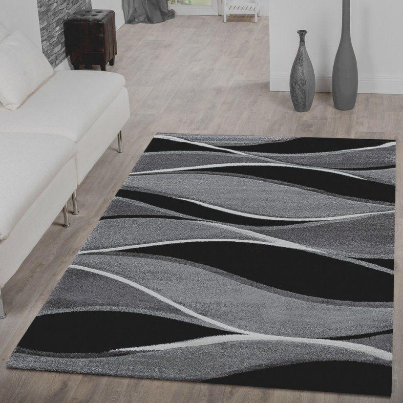 Prima Teppiche Schwarz Weis Designer Teppich Mit Konturenschnitt von Teppich Gestreift Schwarz Weiß Bild