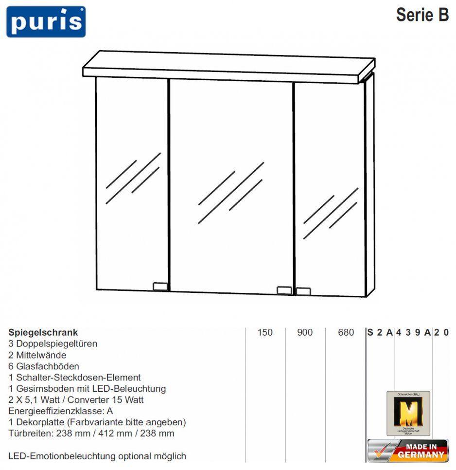 Puris Cool Line Spiegelschrank 90 Cm Mit Led Gesims (S2A439A20 von Puris Cool Line 90 Photo