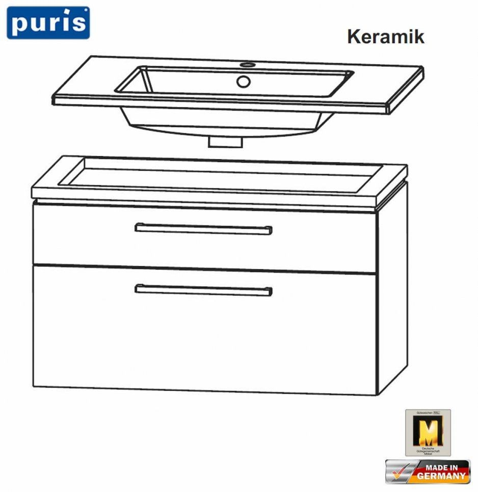 Puris Cool Line Waschtischset 90 Cm  Keramik  Led Optional von Puris Cool Line 90 Bild