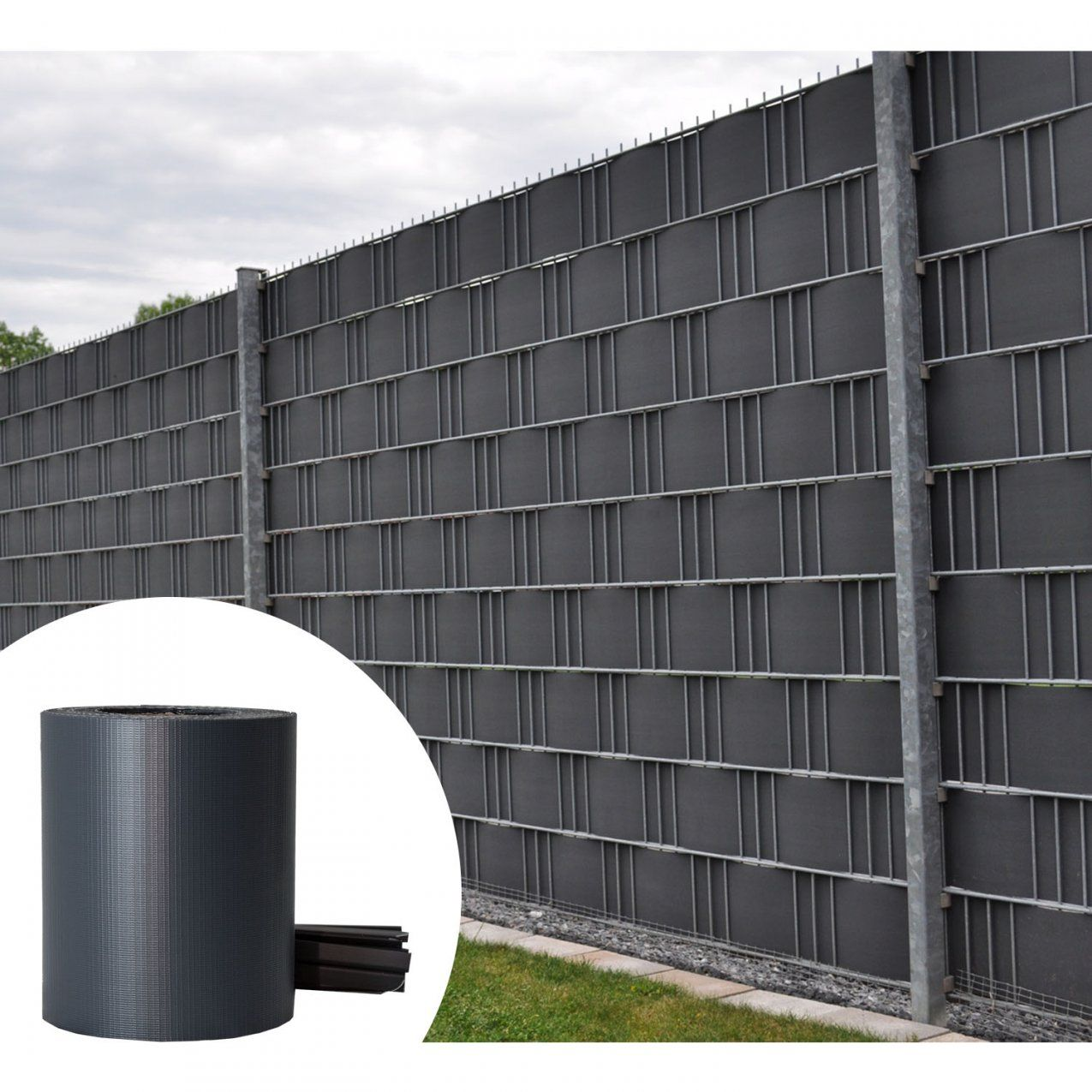 Pvc Sichtschutzstreifen Zaunfolie Sichtschutz Doppelstabmatten Grau von Pvc Sichtschutz Für Doppelstabmatten Bild