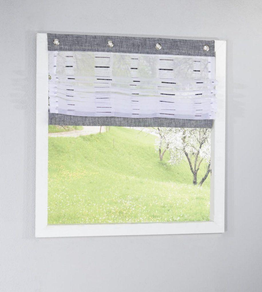Raffrollo 140 Breit Elegant Duschrollo Cm Breit Modell Retro Grau von Rollo Mit Ösen Und Fensterhaken Bild
