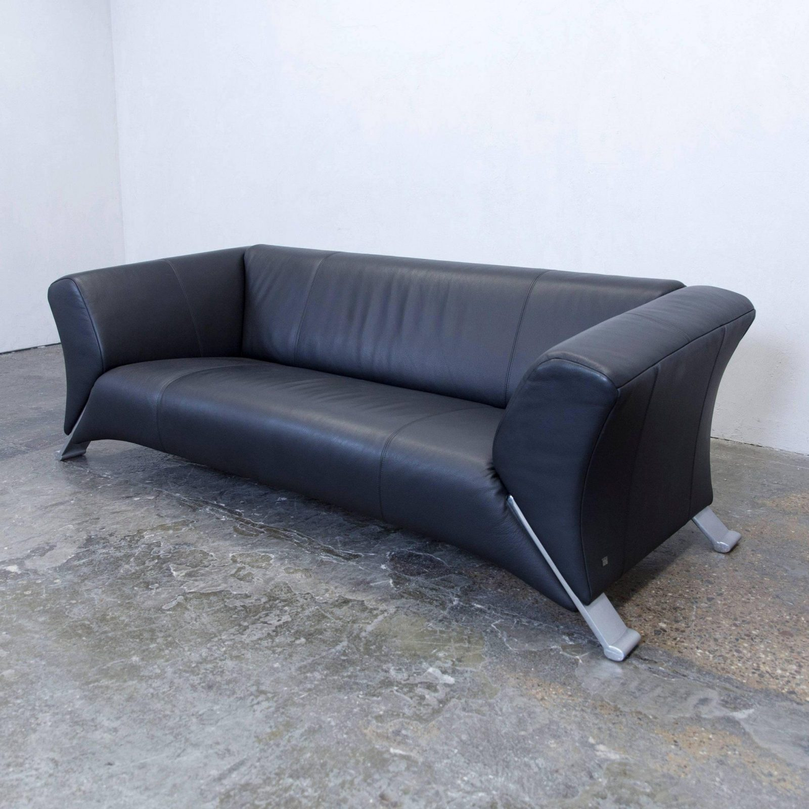 Rolf Benz 322 Designer Leather Sofa Black Threeseat Couch Modern At von Rolf Benz Sofa 322 Bild
