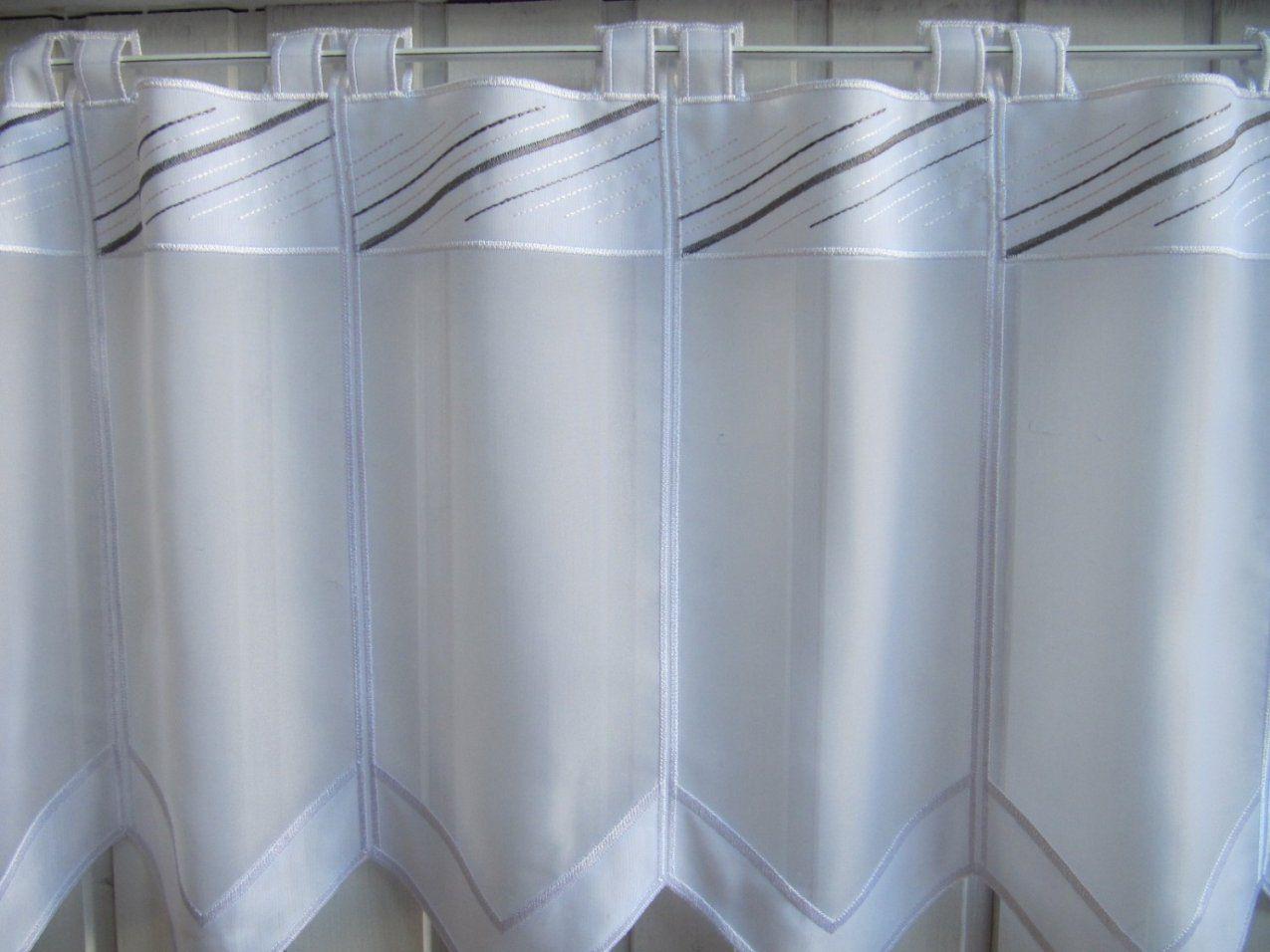 Scheibengardine Weiß Grau Modern Stickmuster 60 Cm Hoch  Kaufen Bei von Scheibengardinen Meterware 60 Cm Hoch Bild
