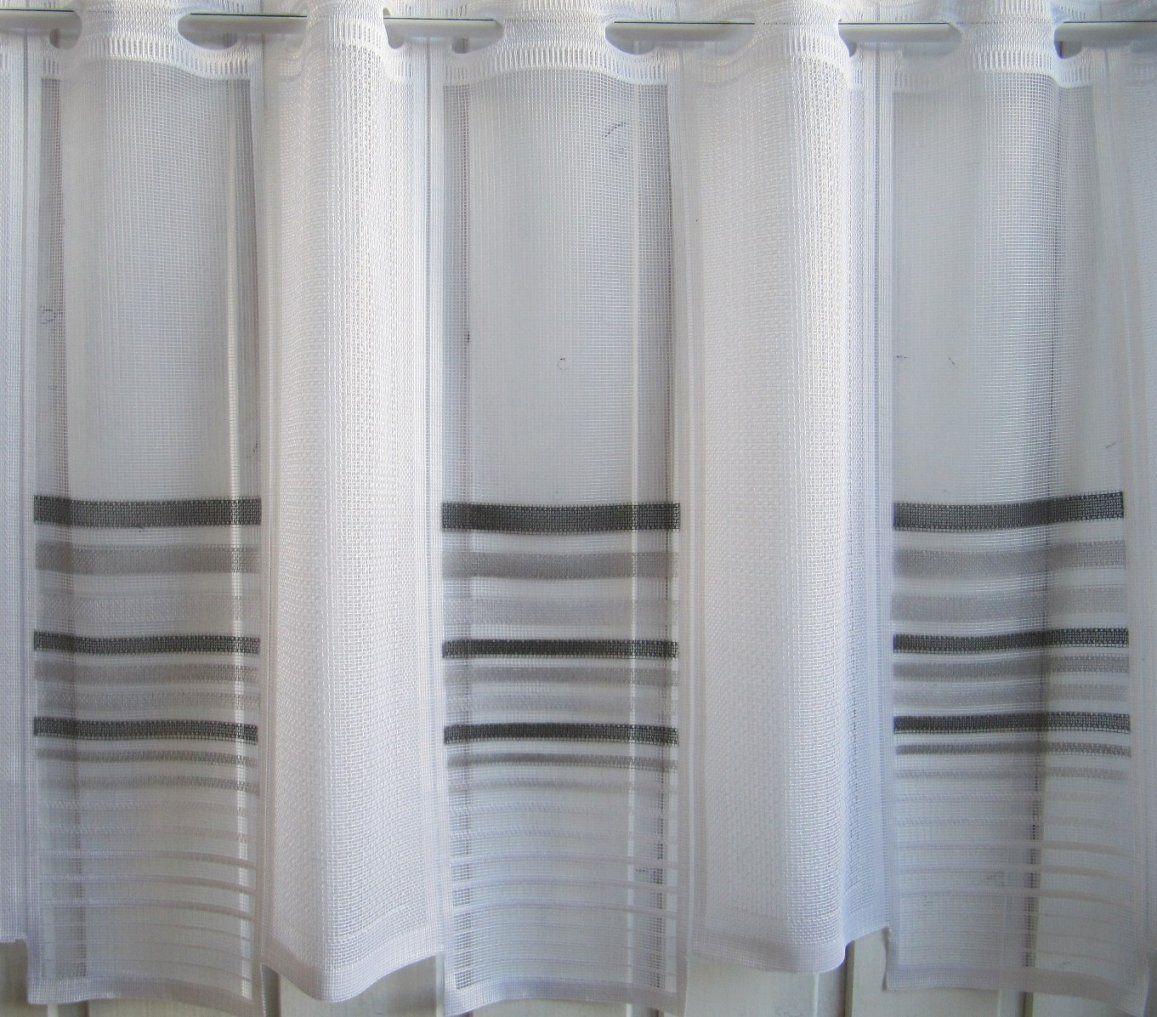 Scheibengardine Weiß Grau Schwarz Querstreifen 45 Cm Hoch von Scheibengardinen Meterware 60 Cm Hoch Photo