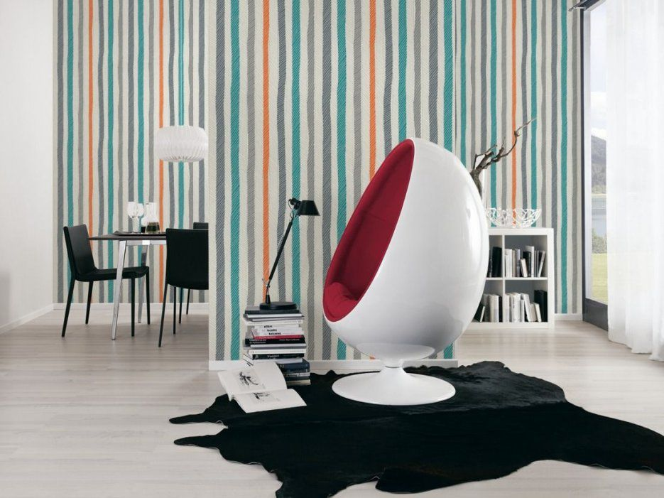 Schöner Wohnen Tapete 943773 Tapete Bunt Grau Orange Streifen von Schöner Wohnen Tapeten Wohnzimmer Bild