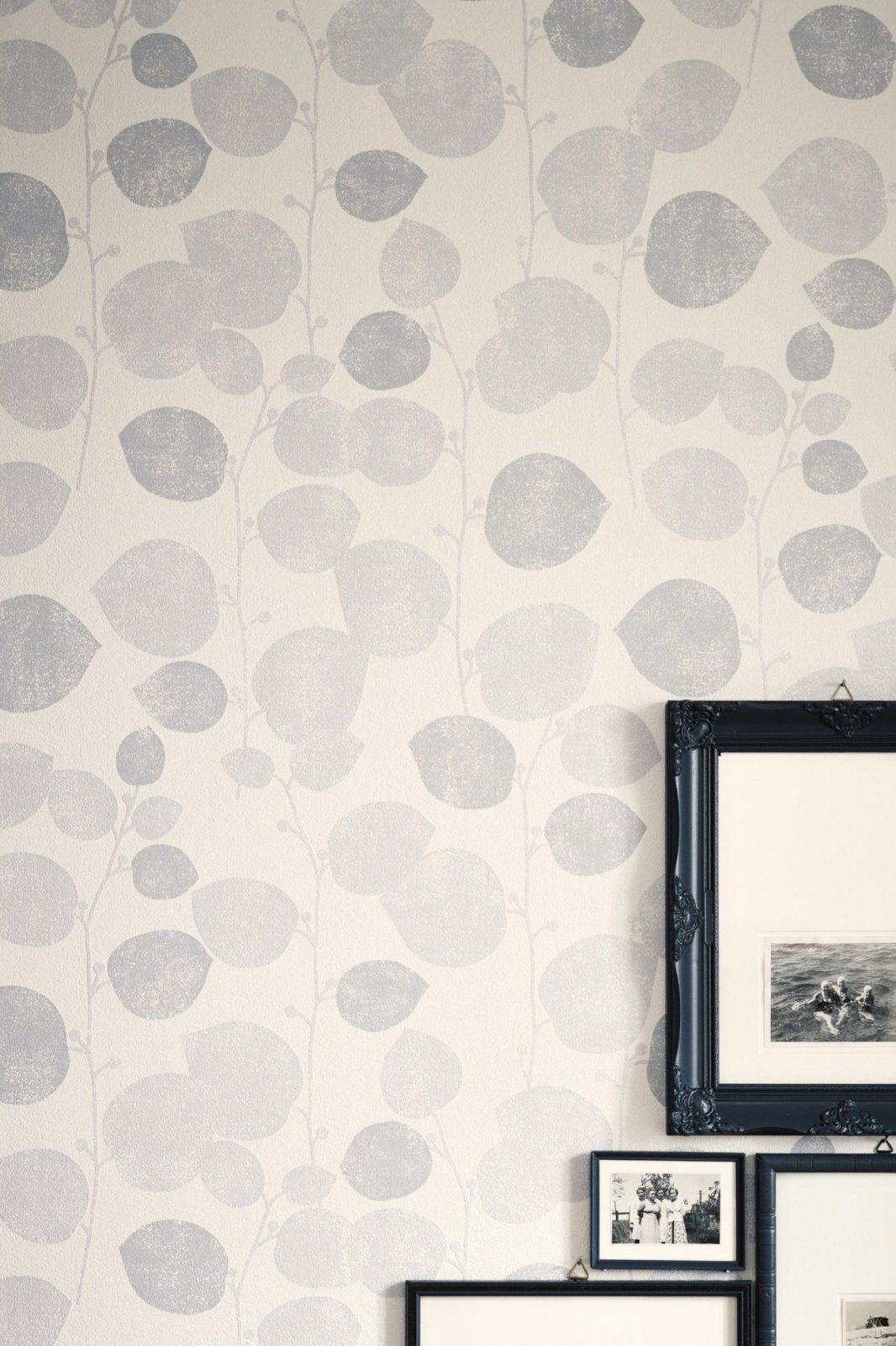 Schöner Wohnen Tapete Lovely Leaves Creme Grau Weiß Kollektion 7 Sch von Schöner Wohnen Tapeten Wohnzimmer Bild