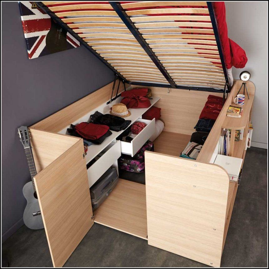 Schrank Mit Integriertem Bett  Betten  House Und Dekor Galerie von Wohnwand Mit Integriertem Bett Photo
