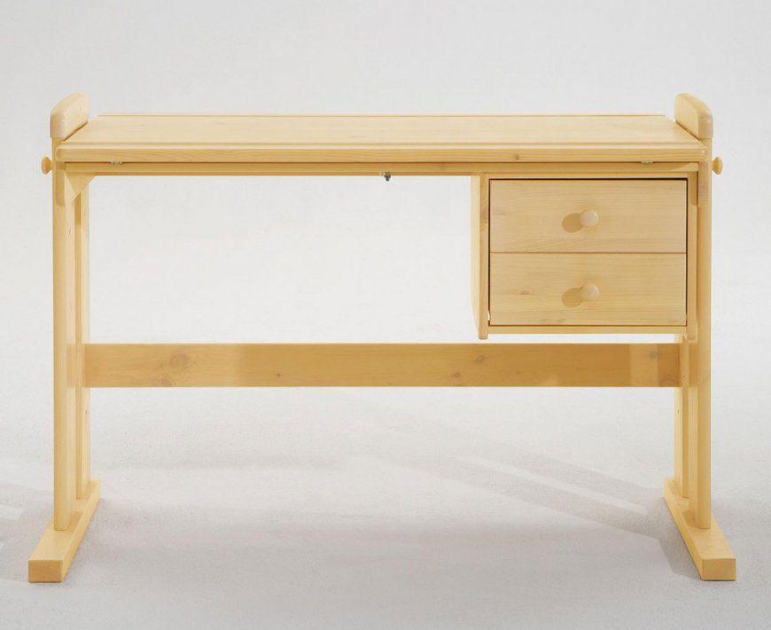Schreibtisch 121X62X60Cm 2 Schubladen Platte Verstellbar Kiefer von Kiefer Möbel Natur Lackiert Bild