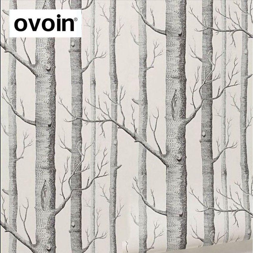 Schwarz Weiß Birke Tapete Für Schlafzimmer Moderne Design Wohnzimmer von Tapete Birke Schwarz Weiß Bild