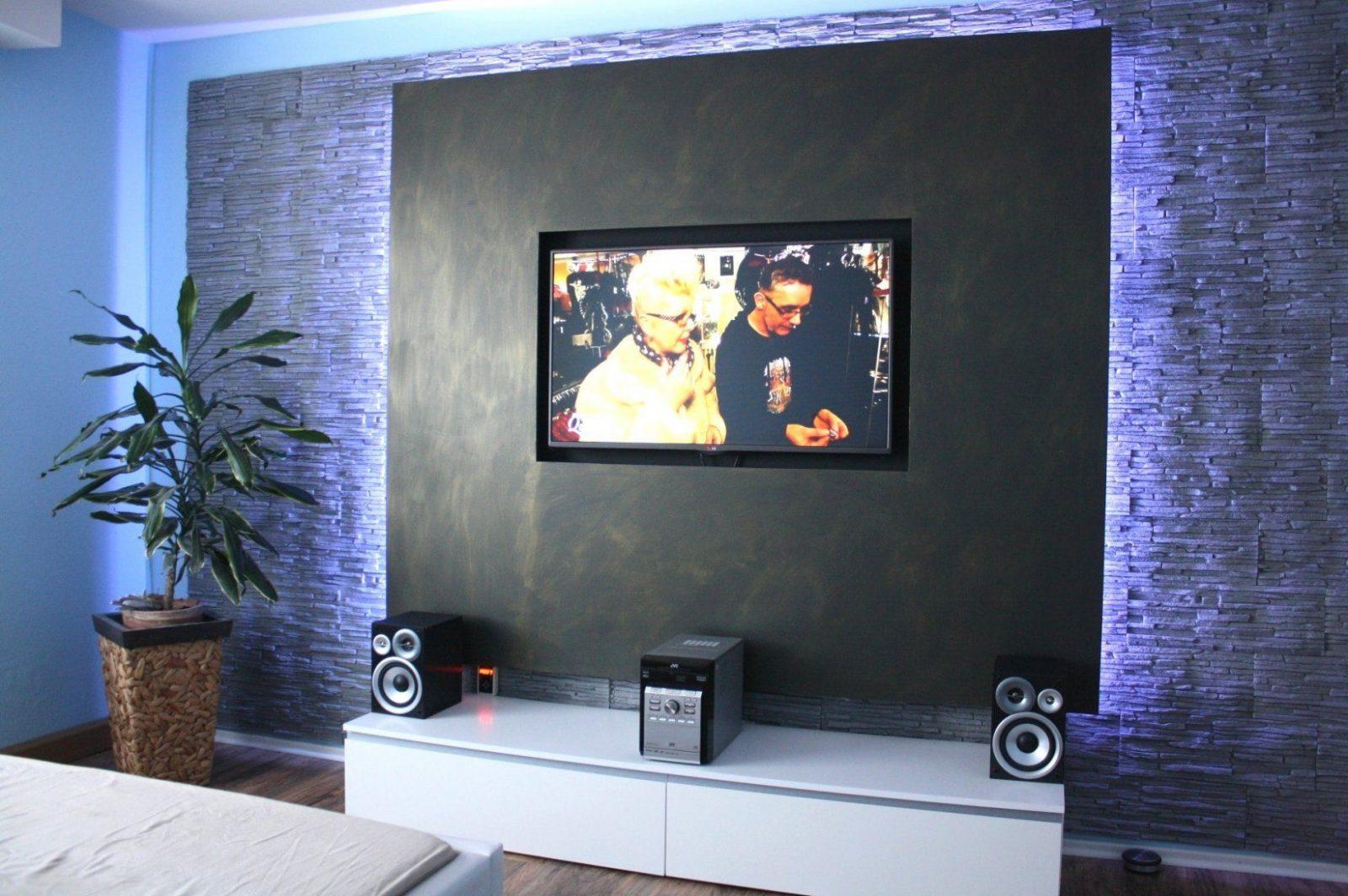 Wand Hinter Fernseher Gestalten Haus Design Ideen