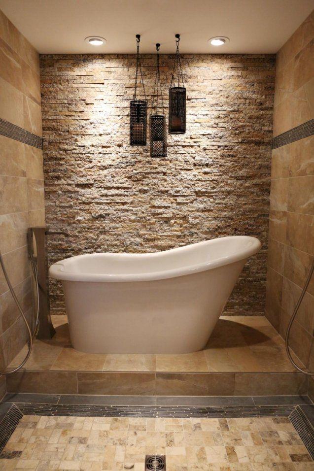 Steinfliesen An Der Wand Im Badezimmer  30 Ideen von Wand Mit Steinen Verkleiden Bild