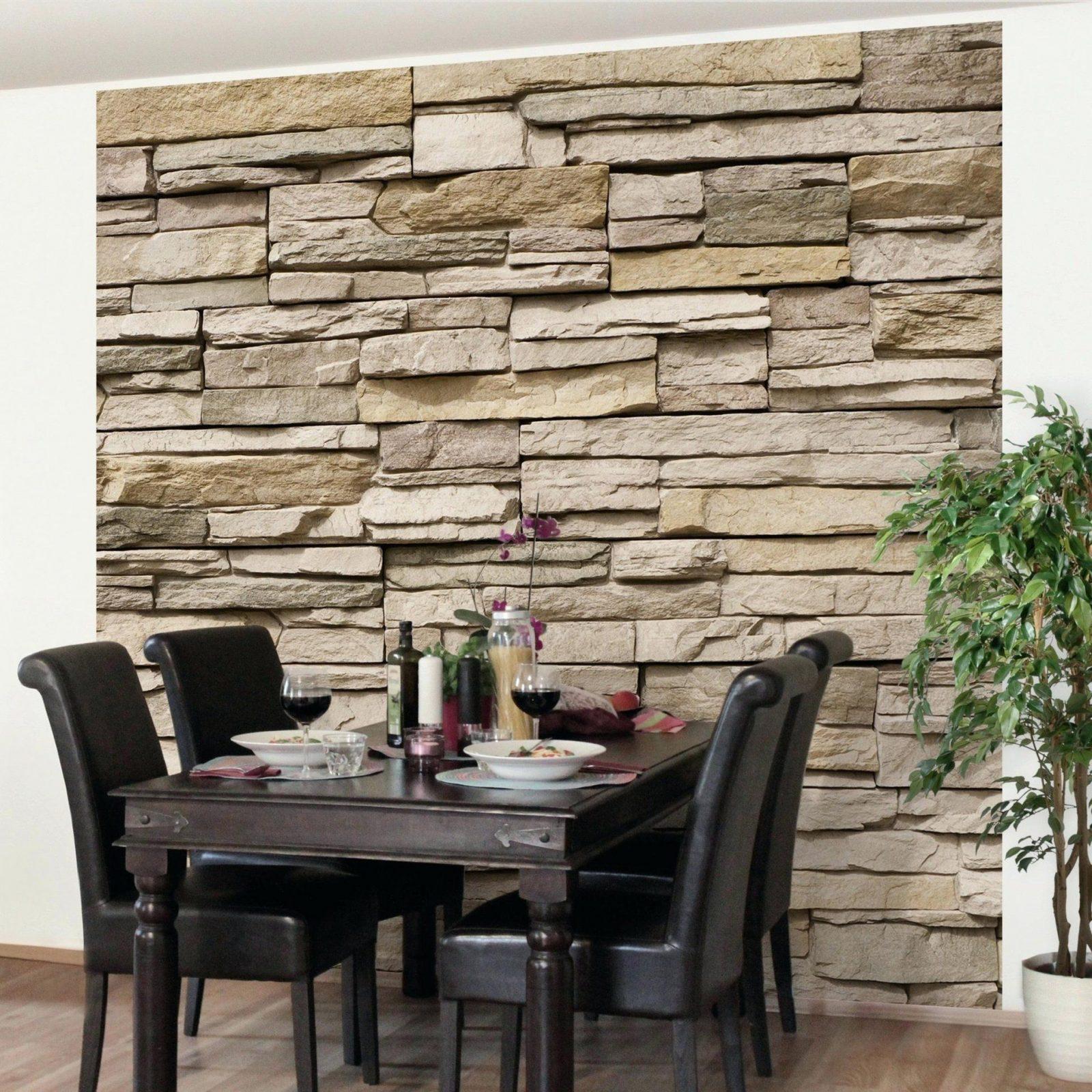 Steinoptik Tapete 3D Steintapete Asian Stonewall Steinmauer Aus von Tapete Steinoptik 3D Wohnzimmer Bild