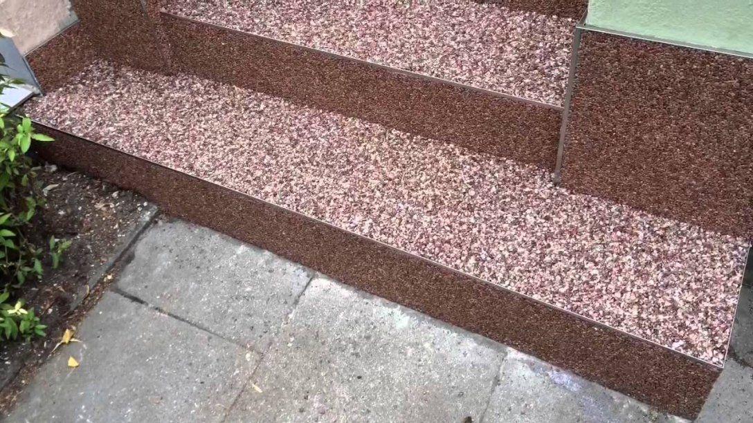 Steinteppich  Kieselbeschichtung  Youtube von Außentreppe Sanieren Mit Marmorgranulat Photo