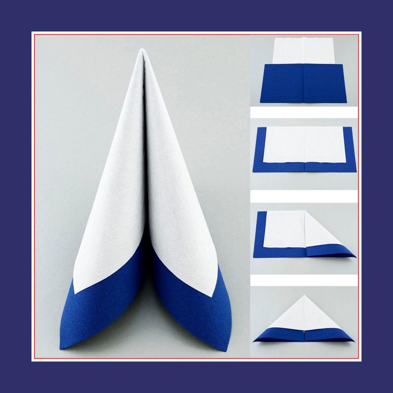 Tafelspitz Aus Zwei Servietten In Farben Weiss Und Blau  Pasqua von Servietten Falten Hochzeit Zwei Servietten Photo